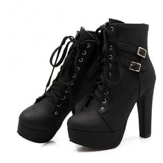 Shoespie Lace up Chunky Heel Ankle Boots (175 BRL) ❤ liked on Polyvore featuring shoes, boots, ankle booties, heels, sapatos, black, black heeled booties, black booties, lace up heel booties and black ankle booties