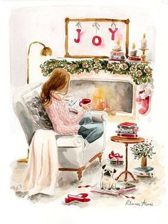 It's early to be pinning this, but I just thought it was so cute! Watercolor Art, Watercolor Fashion, Night Illustration, Portrait Illustration, Christmas Illustration, Fashion Painting, Drawing Fashion, Fashion Sketches, Fashion Art