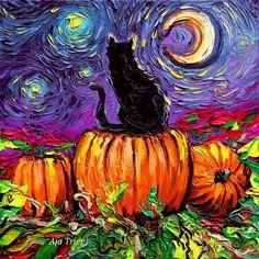 Huge Halloween Print Starry Hallows' Eve Starry Night black cat pumpkin patch autumn art by Aja van Gogh impressionism fall artwork Halloween Canvas, Halloween Painting, Paper Halloween, Halloween Art Projects, Halloween Artwork, Halloween 2019, Halloween Cat, Toile D'halloween, Painting Inspiration
