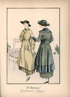 [De Gracieuse] No. 1. Tailleurkostuum van zandkleurige serge met een onderrok van gestreepte serge. De pas is van mousseline en de das van zwart fluweel. No. 2. Namiddagjapon van geruit taffet, gegarneerd met breede biais van effen taffet (October 1915)
