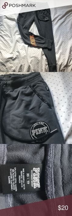 Victoria Secret PINK Sweat Pants Dark Gray cuffed bottom PINK sweat pants. In good condition! Super cute and comfortable stretchy material with adjustable waist! PINK Victoria's Secret Pants Track Pants & Joggers