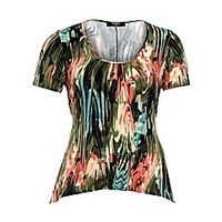 Koko Abstract Print Short Sleeve Tunic - Large Size Clothing and Maternity Wear - www.plussizedglamour.co.uk