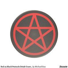 Red on Black Pentacle Drink Coaster