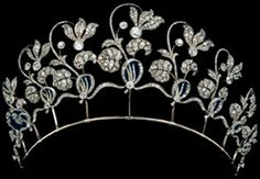 Faberge Cyclamen gold mounted diamond tiara. By Kind permission o His Grace The Duke of Westminster O.B.E., D.L. and the Trustees of the Grosvenor Estates.
