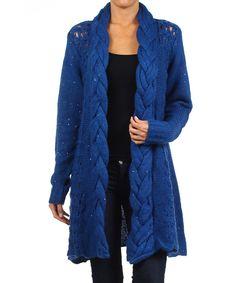Electric Blue Braided Open Cardigan - Women