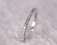 Thin Design 14k White Gold Wedding Ring Pave 0.17ct SI/H Diamond  Engagement Ring/ Matching Band/ Full Eternity Band