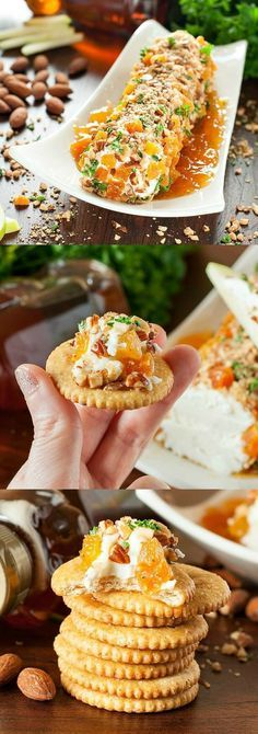 Honey, Apricot, and Almond Goat Cheese Spread :: this easy, cheesy appetizer… http://amzn.to/2keVOw4