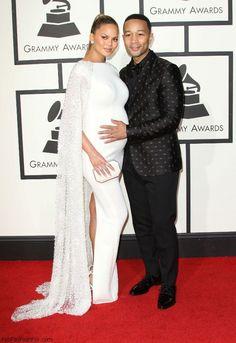 Chrissy Teigen and John legend at 2016 Grammy Awards. #grammys