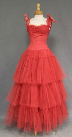 1950s tiered tulle ball gown with organdy bows