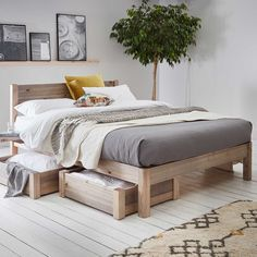 White Knight (Space Saver) Wooden Bed Frame by Get Laid Beds - JudeBuxom. Wooden Bed Frames, Wood Beds, White Wooden Bed, Interior Design Living Room, Living Room Decor, Home Bedroom, Bedroom Decor, Under Bed Storage Boxes, Wooden Bed With Storage