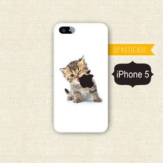 Cute iPhone Case for iPhone 5 -- Kitten Eating Apple Logo - Plastic or Silicone Rubber iPhone 5 Case. $16.00, via Etsy.