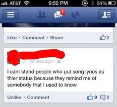 Song lyrics as Facebook status…