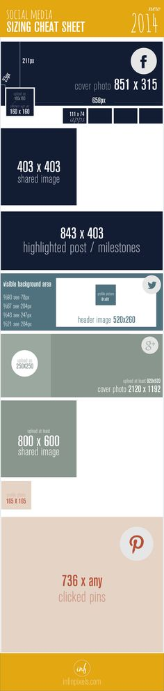 Facebook, Twitter, Google+, Pinterest - Social Media Image Size Cheat Sheet 2014 [INFOGRAPHIC]