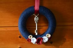 Navy Yarn Wreath with Key by PlainJaneSparkles on Etsy