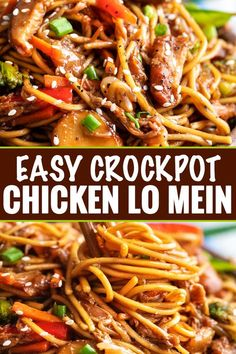 "crock pot recipes This Crockpot Chicken Lo Mein is the perfect weeknight meal! Packed with bold flavors, plenty of veggies, and with only 20 minutes of actual ""work"", it's a much better alternative to Chinese takeout. Top Crockpot Recipes, Easy Crockpot Chicken, Crockpot Dishes, Slow Cooker Recipes, Beef Recipes, Healthy Recipes, Chicken Lo Mein Recipe Easy, Crockpot Veggies, Healthy Lo Mein Recipe"