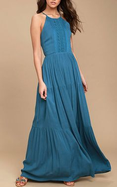 For Life Teal Blue Embroidered Maxi Dress via @bestmaxidress