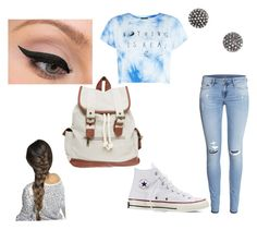 """First day of school look"" by callie-10 on Polyvore featuring H&M, Converse, Wet Seal, Demitasse and LORAC"