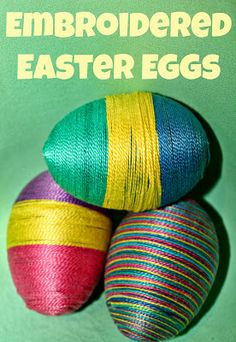 Embroidery Floss Easter Eggs.   This is a cheap and easy Easter decoration.    All you need is:  * Plastic eggs * Hot glue gun *Embroidery floss
