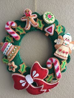 Completed Vintage Bucilla Felt and Sequin by VintageFeltandSequin Felt Christmas Decorations, Felt Christmas Ornaments, Holiday Wreaths, Christmas Themes, Christmas Fun, Winter Wreaths, Spring Wreaths, Summer Wreath, Felt Crafts