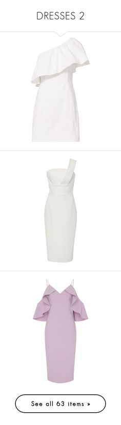 """""""DRESSES 2"""" by elizabethhorrell ❤ liked on Polyvore featuring dresses, white, one shoulder cocktail dress, flounce dress, one sleeve cocktail dress, flutter-sleeve dress, one shoulder white cocktail dress, christian siriano dresses, draped dress and one-sleeve dress"""