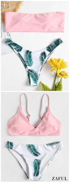 Bandeau Tropical Bikini Set. Uncomplicated and sophisticated, this is a summer-ready silhouette. This top is shaped to a bandeau style that enhances tanning potential and the tropical-inspired leaf print bottoms have the relatively high legs for an elongating effect. #Zaful #Top #Outfits