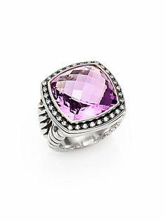 David Yurman Amethyst, Diamond & Sterling Silver Ring