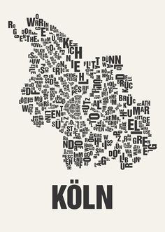 "Leinwandbild Köln Panorama Köln PopArt Köln Kathrin Thiede - Alexander Heitkamp Buchstabenorte ""Köln"" auf Leinwand"