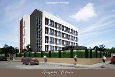 """Gangsadal Apartment"" - Project: 4-Storey Residential Bldg.  Location: Khon Kaen, Thailand Designed: 483 Co. Ltd. (Team) 3D Visualization: F Render Designs WF; Sketchup 2016 + Vray 2.0 +Pscs6"