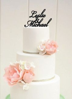 Custom First Names Script Monogram Wedding Cake by ThePinkOwlGifts, $32.00