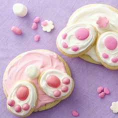 Bunny butt cookies, sugar cookies, Easter, sweets, treats, pink and white icing