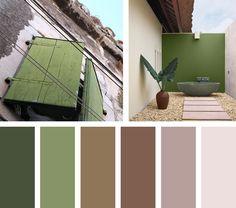 Para un espacio que asoma estar en un lugar abierto y amplio, una paleta de colores naturales en verdes y colores tierra.  Espacio Via:domino.com