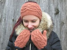 Cable Knitted Headband, Ear Warmer, brownish orange mittens, Christmas gift for your woman. Ear warmer and mitten set.