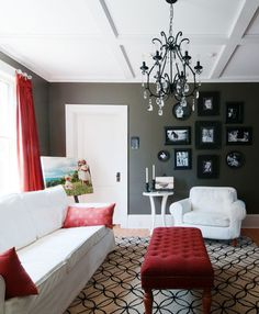 Living Room - Apartment Therapy.  Hey that wall color looks like my bedroom walls. Taos taupe is the name of mine.  Mud is what I would call it.