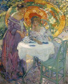 1910 Richard E. Miller American Impressionist,  ~ Afternoon Tea~