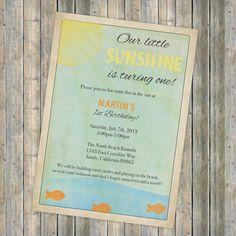 Sunshine birthday invitation, Vintage Sun and Beach look, gender neutral, printable, digital file. $13.00, via Etsy.