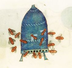 Beehive from The Luttrell Psalter (English illuminated manuscript ca. 1320-1340). At that time many people believed bees were small birds.