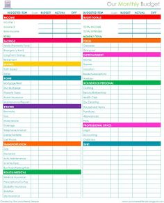 The Uncluttered Lifestyle: free printables - monthly budget worksheet