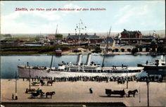 Postcard Szczecin Stettin Pommern, Hafen und die Bootshäuser auf dem Bleichholm…
