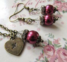 Personalized Bridesmaid Jewelry Set. Burgundy Wedding, by romanticcrafts, $22.50