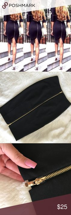 H&M  ZIPPER BACK PENCIL SKIRT SIZE 4 black pencil skirt with back zipper excellent used condition, worn once. H&M Skirts Pencil
