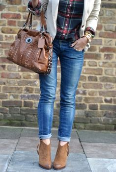 skinny jeans rolled, brown boots, bag, and blazer, love everything except the ugly flannel