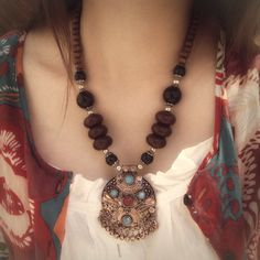 Wooden Beads & Etched Pendant Necklace