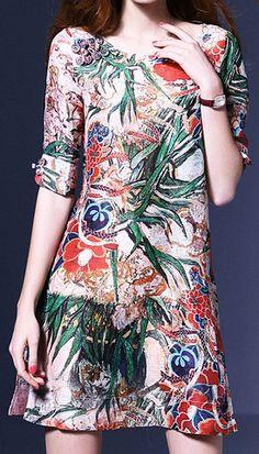 Floral Print Linen & Silk Shift Dress
