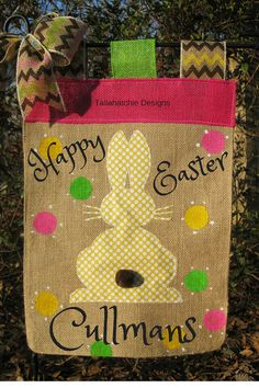 Easter Garden Flag Personalized Burlap by TallahatchieDesigns