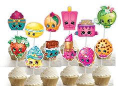 DOUBLESIDED  Shopkins birthday party cupcake by BirthdayPartyBox