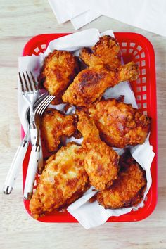 For National Fried Chicken Day (July 6) -- or any day! Mama's Fried Chicken #recipe, from @southernliving Home Cooking Basics #cookbook
