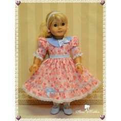 http://alenamokhan.com/                      18 Inch Doll Mid 1800th Sparlke Heart Print Dress