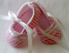 Country Chic Gingham, Pixie Toes Baby Shoes