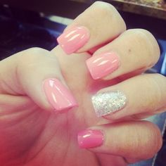 Baby pink nails with glitter accent. Great for prom, wedding, or ant occasion. Fake nails. Acrylic nails. Im loving them.
