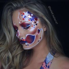 "Happy Memorial Day! major inspiration from @the_wigs_and_makeup_manager on this look @mehronmakeup paradise palette Eyes are @jeffreestarcosmetics ""designer blood"" lippie topped with ""Androgyny"" eyeshadow and @colourpopcosmetics blue lippie, topped with @kyliecosmetics Royal peach palette in shade ""Royal"" @anastasiabeverlyhills @nicoleguerriero glow kit in shade ""kitty..."
